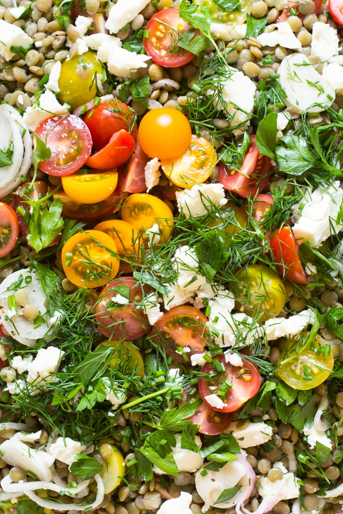 Tomato and Lentil Salad with Feta Cheese and Herbs ...