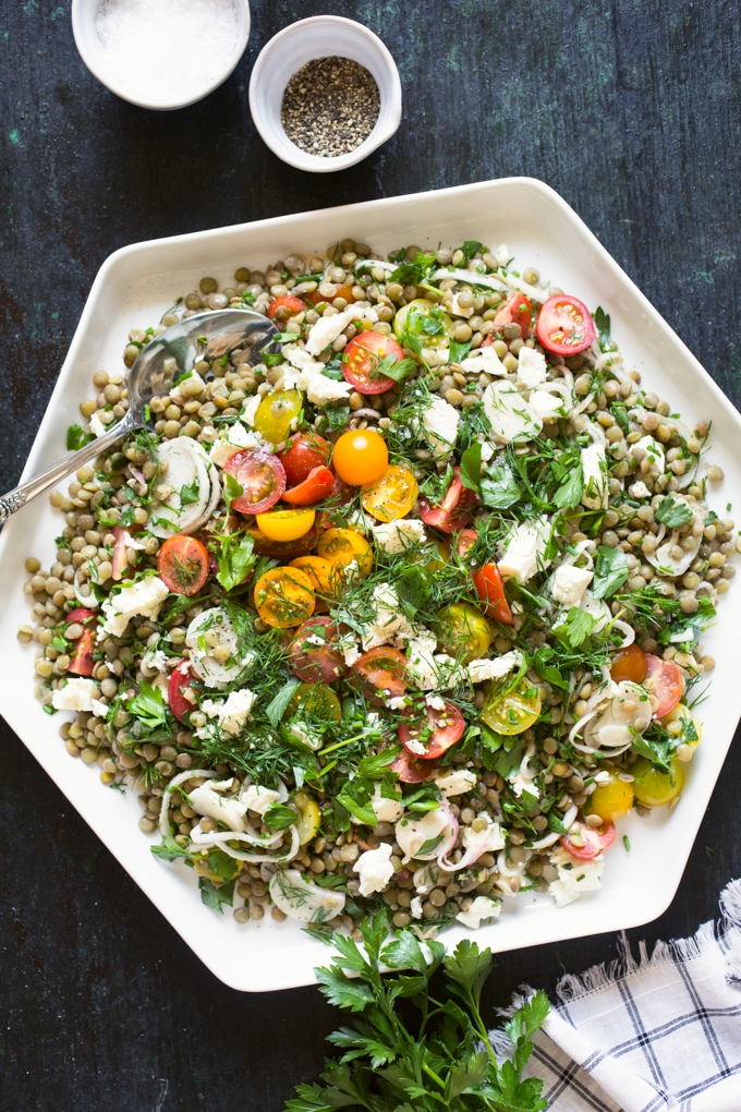 Tomato And Lentil Salad With Feta Cheese And Herbs