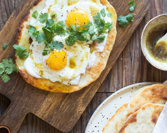 Homemade Flatbread with Yogurt, Eggs and Curry Brown Butter