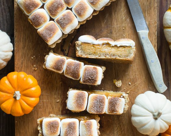 Pumpkin & Hazelnut Tart with Toasted Marshmallow