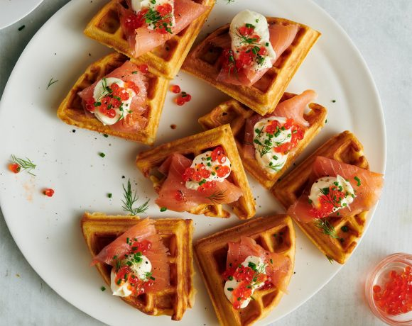 Cornmeal Waffles with Smoked Salmon
