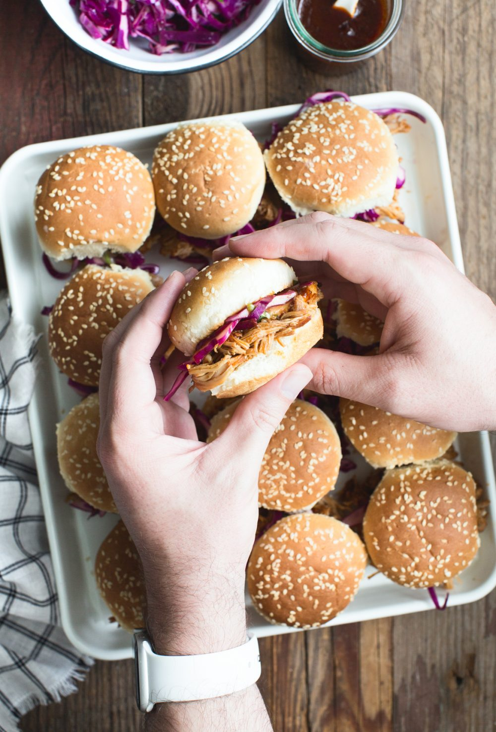 Instant Pot BBQ Chicken Sliders with Red Cabbage Slaw