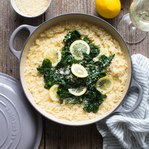 Meyer Lemon Risotto with Spicy Swiss Chard