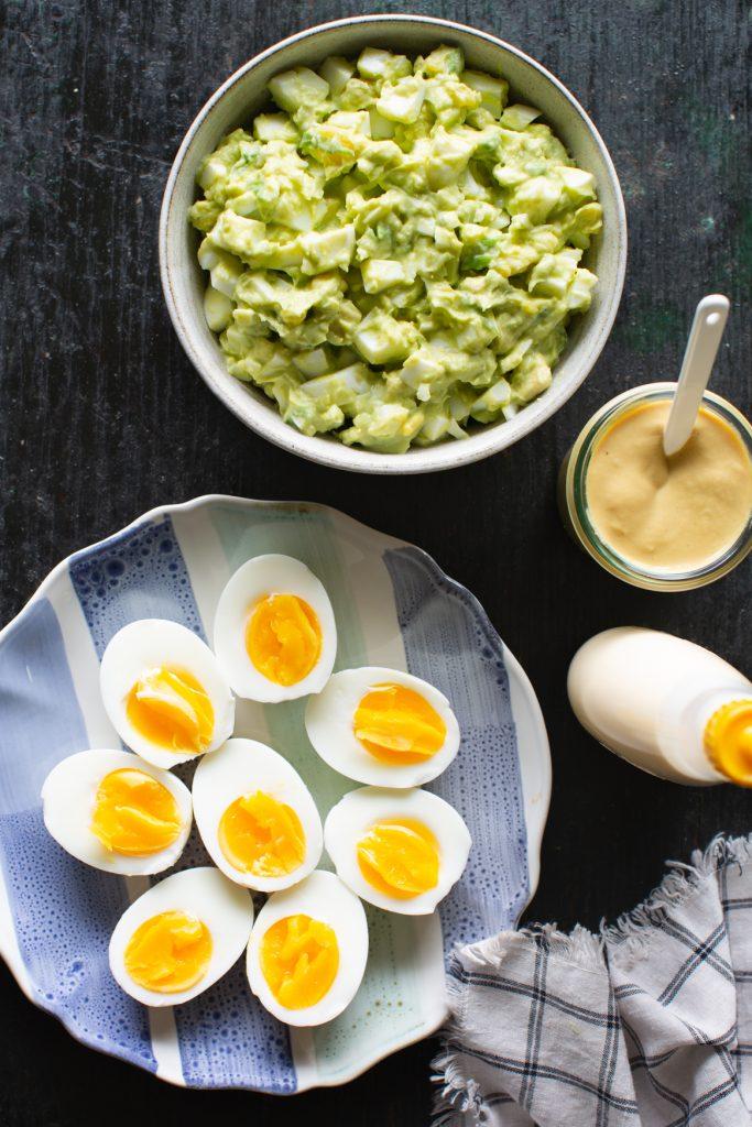 Avocado Egg Salad and Soft Boiled Eggs