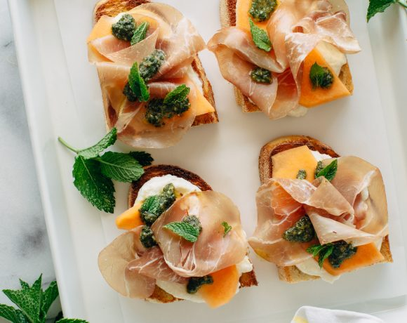 Melon and Prosciutto Toast with Mint Pesto