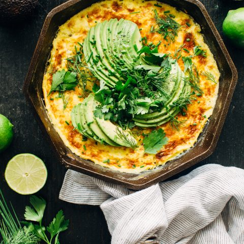 Sweet Corn Frittata with Avocado and Herbs