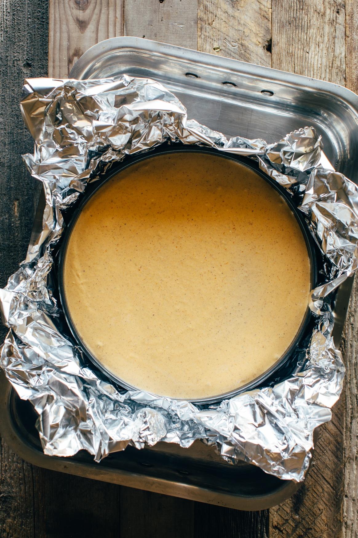 Pumpkin Creme Brulee Cheesecake Pre-Bake