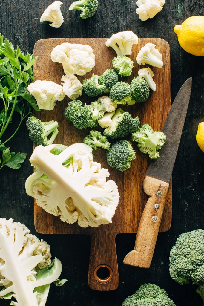 Chopping Broccoli and Cauliflower