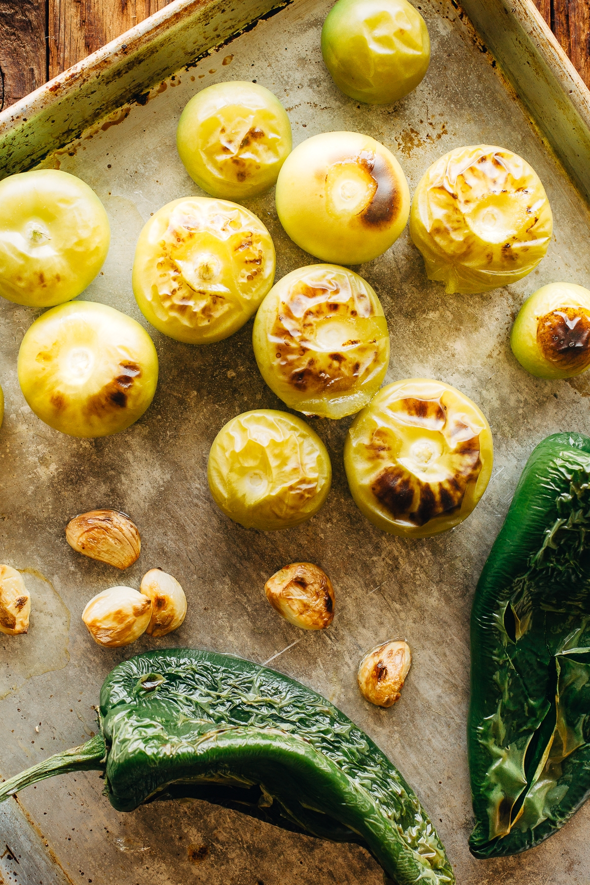 Roasted Tomatillos, Poblano Chiles and Garlic