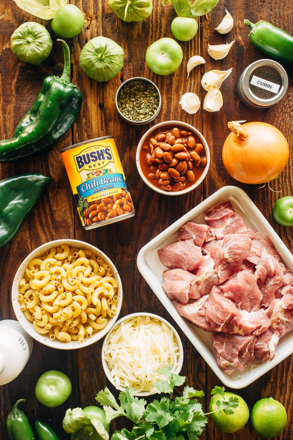 Chile Verde Mac and Cheese Ingredients