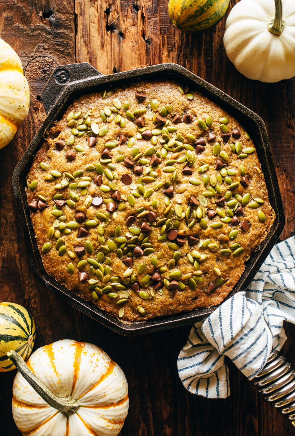 Chocolate Chip Pumpkin Skillet Cake