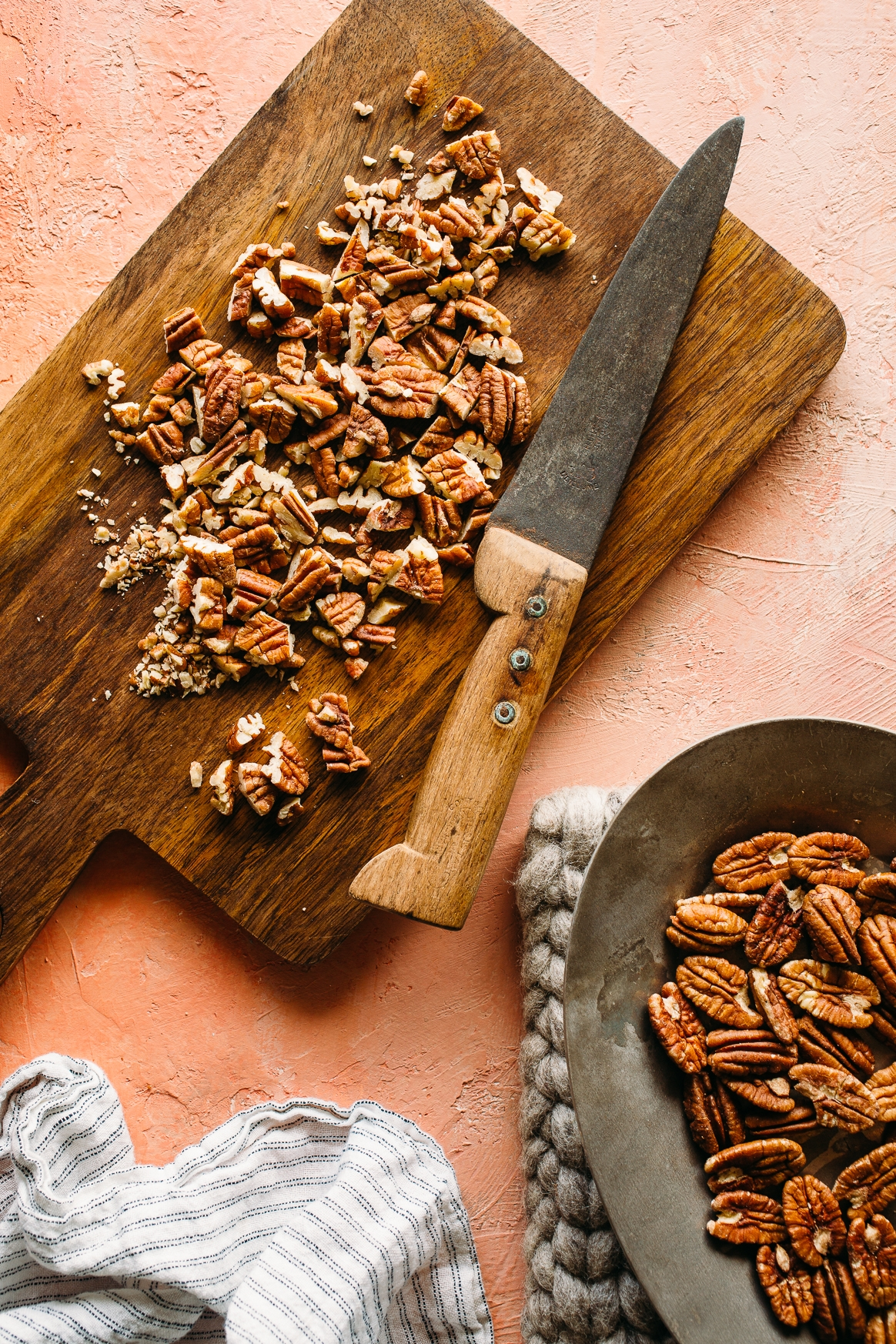 Chopping Toasted Pecans