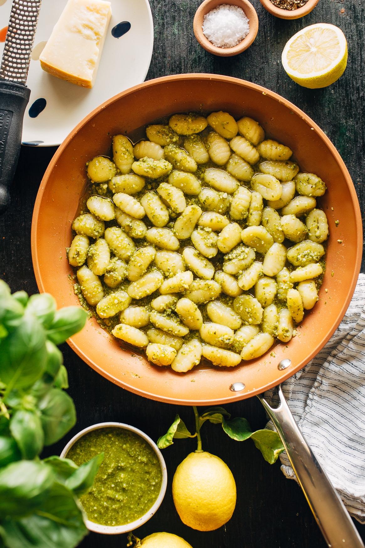 Pesto Gnocchi in a Skillet