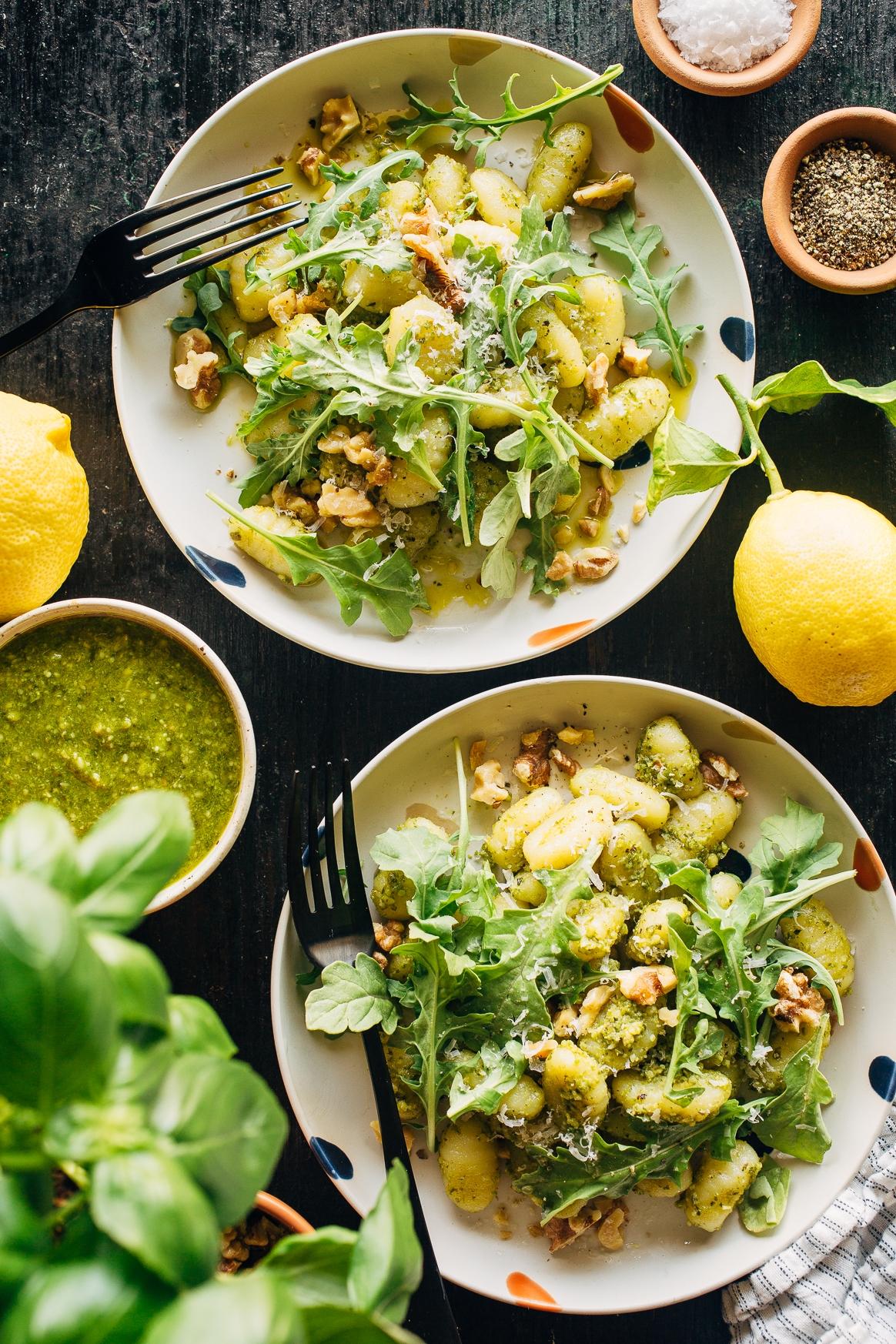 Pesto Gnocchi with Arugula, Lemon and Toasted Walnuts